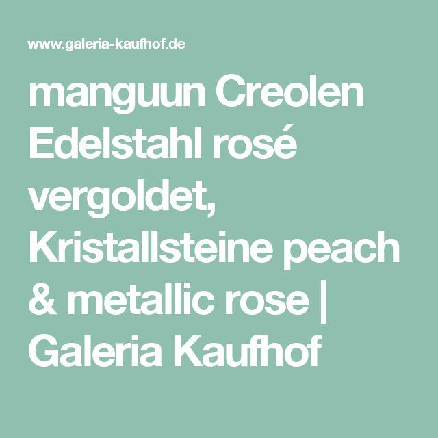 manguun Creolen Edelstahl rosé vergoldet, Kristallsteine peach & metallic rose | Galeria Kaufhof