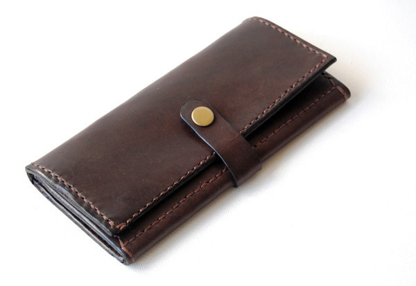 Dark Brown Leather Long Wallet with Coin Pouch