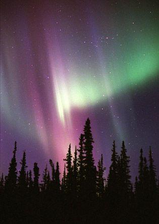Northern Lights in Alaska, also called the Aurora Borealis.