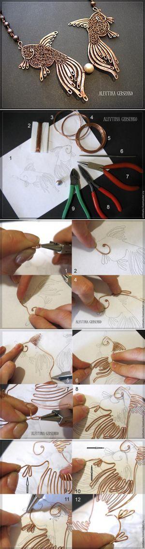 """Clase magistral: Collar de """"pescado"""" en la técnica de trabajo con cables - Master Fair - hecho a mano, hecho a mano"""