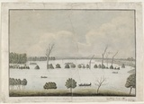 Hawkesbury flood, Windsor, 1816, artist unknown.   Find more information about this image: http://acms.sl.nsw.gov.au/item/itemDetailPaged.aspx?itemID=404920  From the collection of the State Library of New South Wales: www.sl.nsw.gov.au