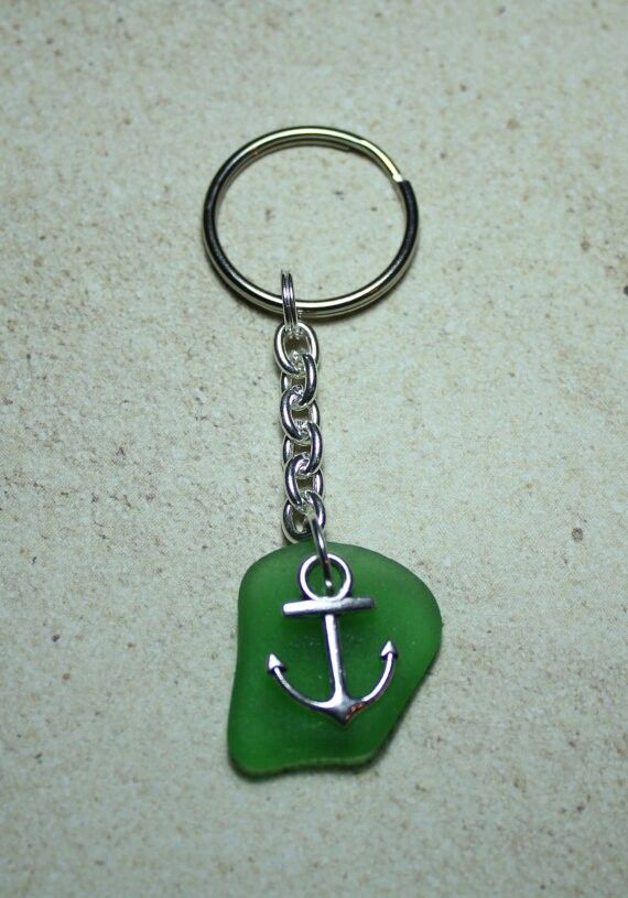 Genuine sea glass keychain