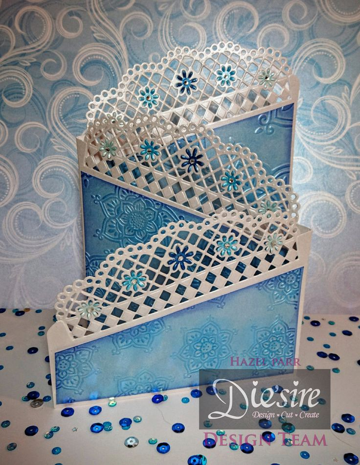 Hazel Parr - Die'sire Everyday Fancy Edge'ables Doily Tri- fold Card - Die'sire Fancy Edge'ables - Doily Lattice, A4 Embossing Folder - Mandala Folder, Fresh Blue - Centura Pearl A4 Printable Card Pack (10 sheets), Crafter's Companion Snow White Silver - Centura Pearl, Crafter's Companion Spectrum Noir Sparkle (12pk) - Spring-Summer, Crafters Companion Spectrum Noir Sparkle (12pk) - Autumn-Winter, Collall All Purpose Glue, Collall Tacky Glue - #crafterscompanion