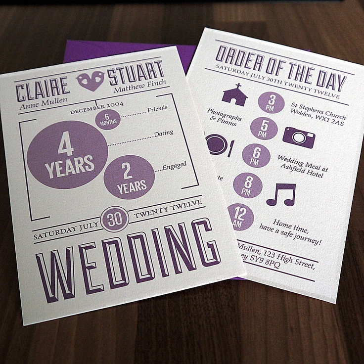 Modern wedding invite with itinerary 22 best
