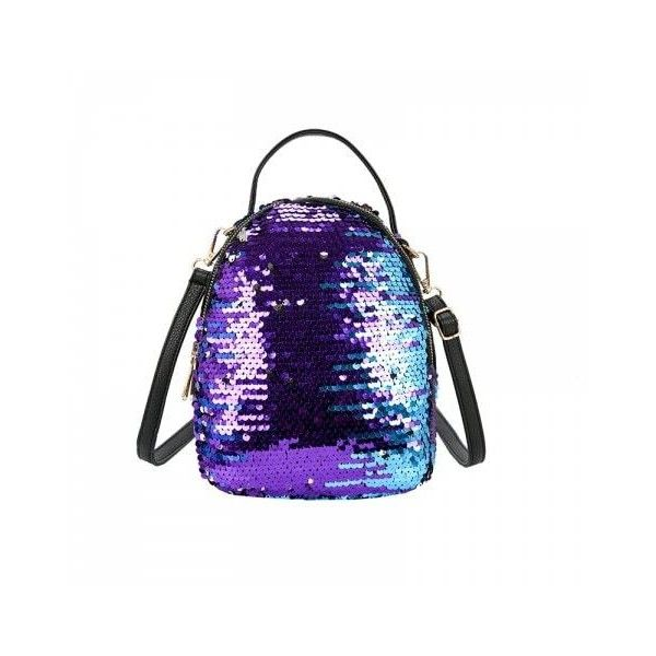 Purple Women's Fish Scale Sequined Backpack Large-capacity multi-zip... ❤ liked on Polyvore featuring bags, backpacks, backpack bags, purple sequin bag, day pack rucksack, purple backpack and fish bag