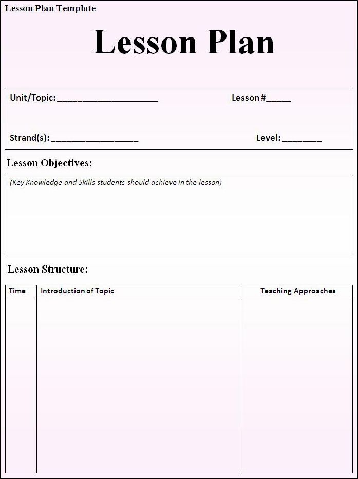 Blank Weekly Lesson Plan Template Teacher High School Sample Word
