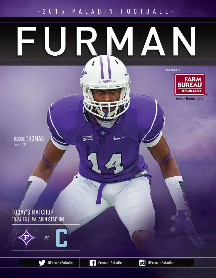 The Furman Paladins Football Roster Card: @furmanuniv vs. The Citadel, October 24, 2015. Collectible card features Reggie Thomas on its cover.