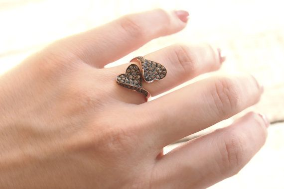 Modern ring with heart . 14kt rose gold plated by DanelianJewelry