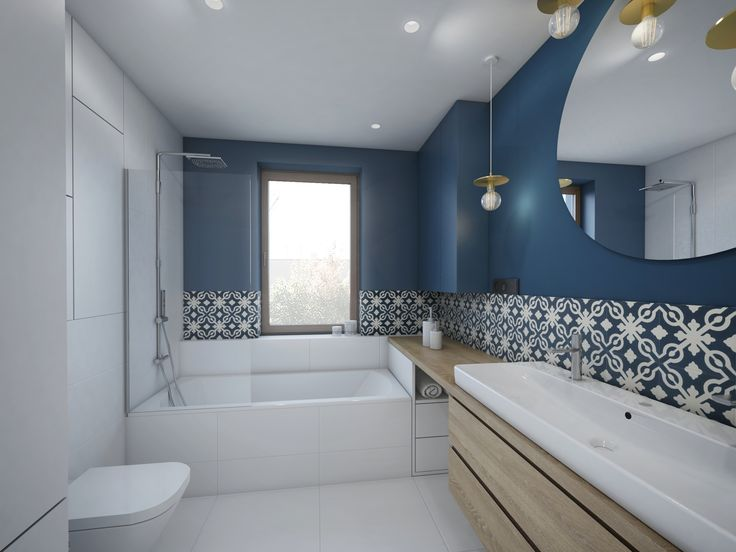 bathroom in blue and white blue&white