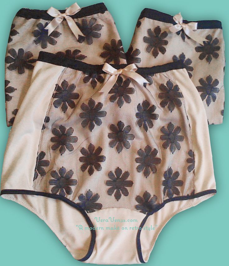 Grannie panties 1950's style viscose and nylon lace