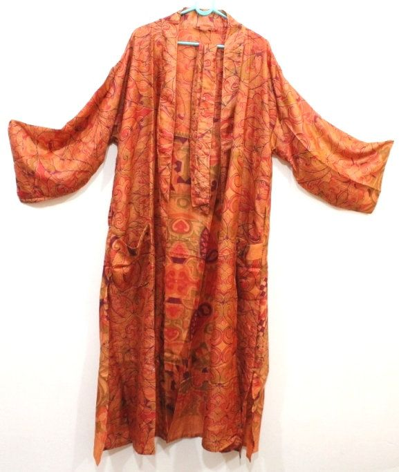 Indian Vintage Saree Cross Over Getting Ready Robe Swimming Robe Night Wear Robes Trendy Wear Ethnic Wear Cover up Bridal Party Robes#401