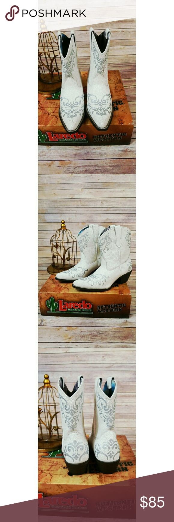 Laredo western boot white silver tattoo Sz 9.5 New in a box,no tag Laredo western boot white with silver tattoo size 9.5  Pair it with flirty floral dress for that perfect summer outfit. Laredo Shoes Ankle Boots & Booties