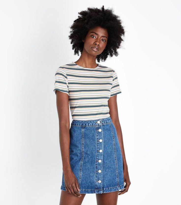 T-shirt côtelé à rayures multicolores - New Look - 12,99€