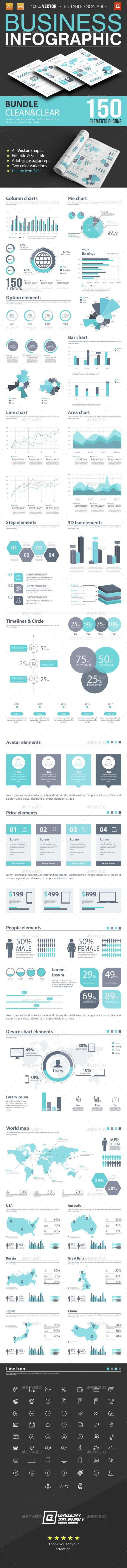 Business Infographic Bundle 150 Elements — Vector EPS #symbol #conceptual • Available here → https://graphicriver.net/item/business-infographic-bundle-150-elements/15326020?ref=pxcr