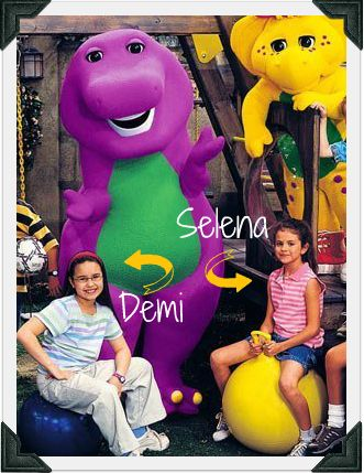Selena Gomez and Demi Lovoto on Barnie - Two of the only kids not scared of the purple dinosoure