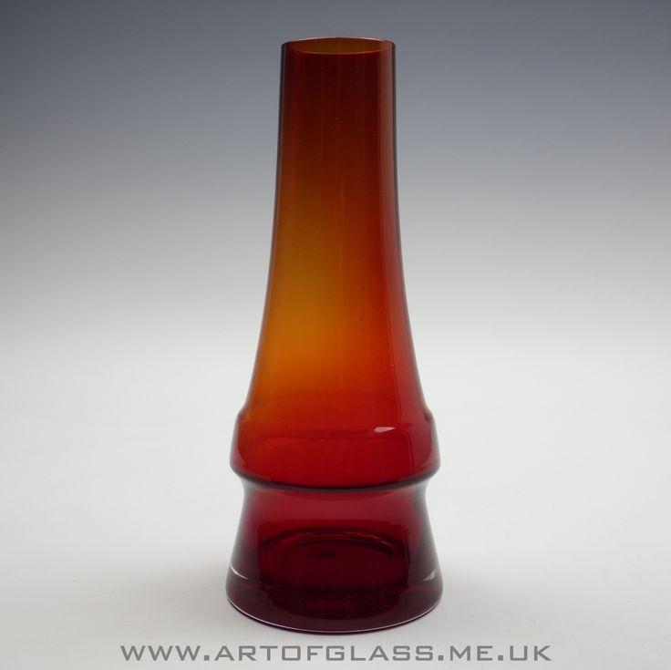 Riihimaki 'Piippu' ruby red glass vase by Aimo Okkolin