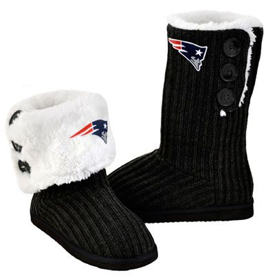 New England Patriots Women's Black Knit High End Button Boot Slipper