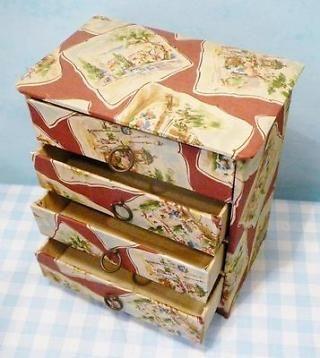 Vintage retro sieraden ladekastje doos bekleed met stof