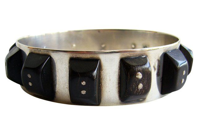 American Modern Sterling & Wood Bracelet, 1950s American modern sterling silver bangle with handmade riveted wood studs.