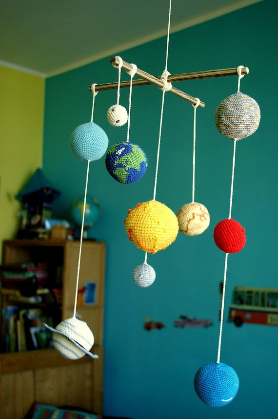 Solar System Planets Mobile - Crochet Baby Mobile - Educational Kid's room decoration