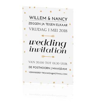 Prachtige huwelijksuitnodiging in zwart en goud