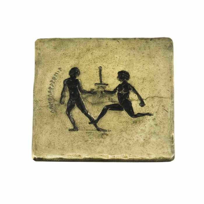 Coaster depicting a sport of ancient Olympics, the Torch relay.  The torch relay is directly connected with the Olympic flame, a symbol of the Olympic Games.  Dimensions: 9.5cm. X 9.5m.  Bronze