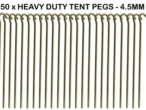 50+x+HEAVY+DUTY+9+TENT+PEGS+–+23CM+x+4.5MM+–+MADE+FROM+GALVANISED+STEEL+–+CURVED+HOOK+ON+TOP+–+GREAT+FOR+SECURING+TENTS+/+AWNINGS+/+GOAL+NETS+/+POND+NETTING+by+We+Search+You+Save