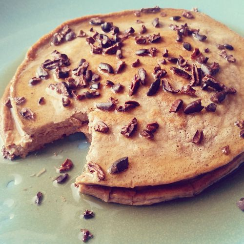 Protein Pancakes 1 scoop of Quest Protein Powder (Multi Purpose or other Quest Protein Flavors 1 egg 2 tablespoons softened cream cheese 2 packets of Stevia (optional) Unsweetened almond milk or water  Topping of your choice (sugar free syrup, berries, sweetened cream cheese, warmed PB2, etc