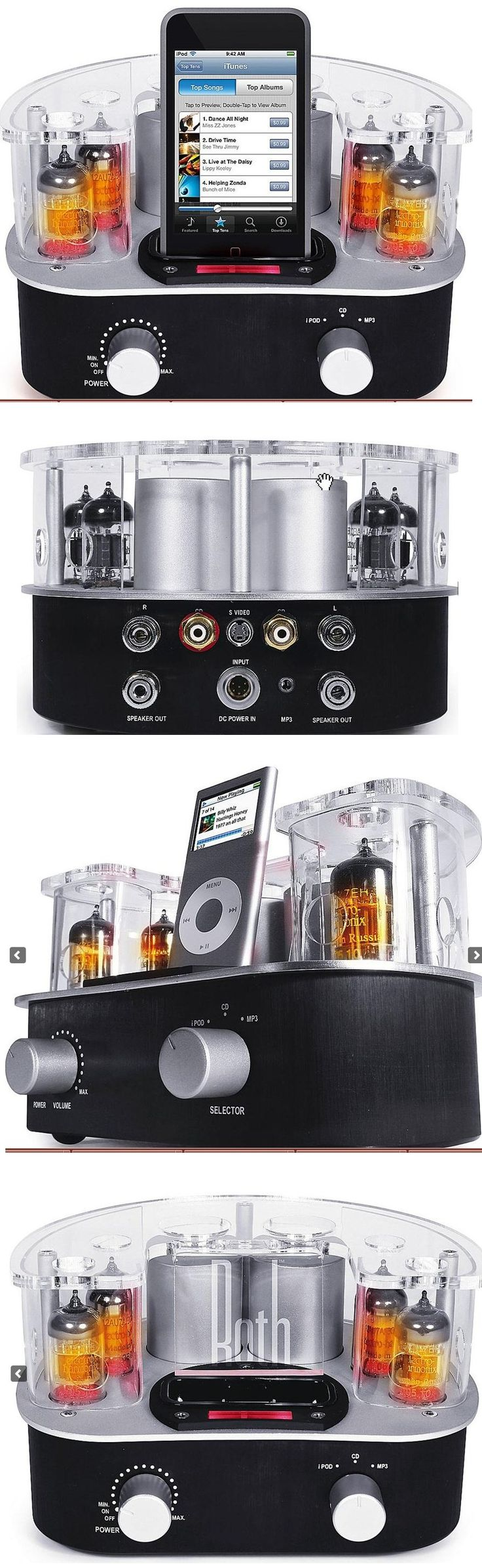 "Roth Audio MC4 Music Cocoon Hybrid tube amplifier with built-in iPod® dock 13 watts x 2 channels into 8 ohms (20-30,000 Hz) at 0.5% THD hybrid vacuum tube/solid-state design vacuum tube preamp stage (uses two 12AU7 and two 12AX7 tubes) MOSFET solid state power amp signal-to-noise ratio: 90dB one pair of gold-plated RCA audio inputs one stereo minijack audio input S-video output wireless remote heavy-duty binding-post speaker connectors 7-3/8""W x 4-9/16""H x 7-9/16""D $299"