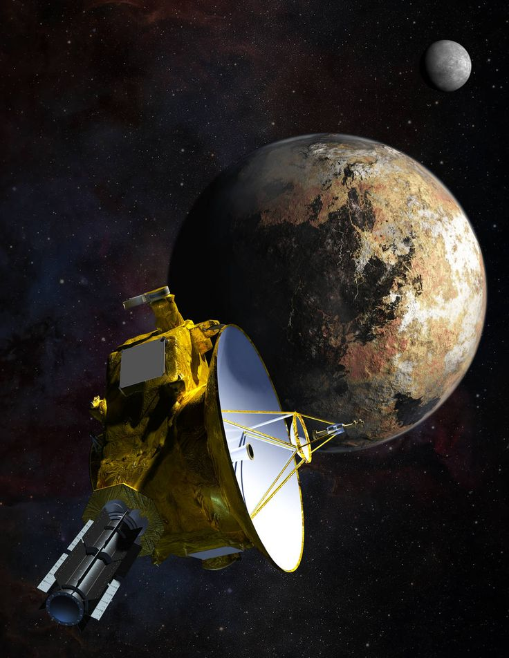 An artist's depiction of New Horizons as it approaches the distant dwarf planet Pluto. Pluto's largest moon, Charon, hovers in the background.