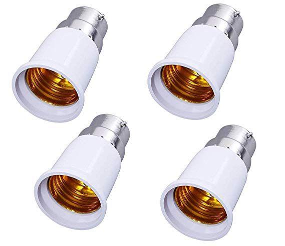 Shafire B22 To E27 Base Socket Ceramic Lamp Holder Light Bulb Adapter Set Of 4 White Light Bulb Adapter Ceramic Lamp Lamp Holder