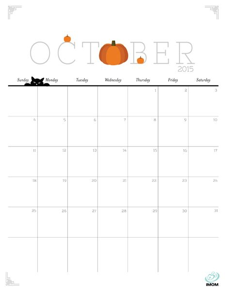 Download iMOM's Free October 2015 printable calendar. October means falling in love with pumpkins all over again.: