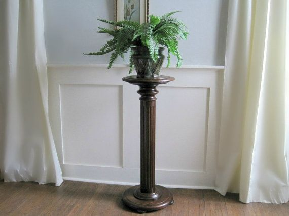 Antique Oak Pedestal Fern Plant Stand Victorian Chic