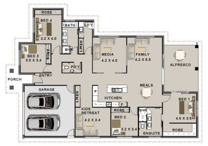 4 Bedroom House  + 2 Bath + Media