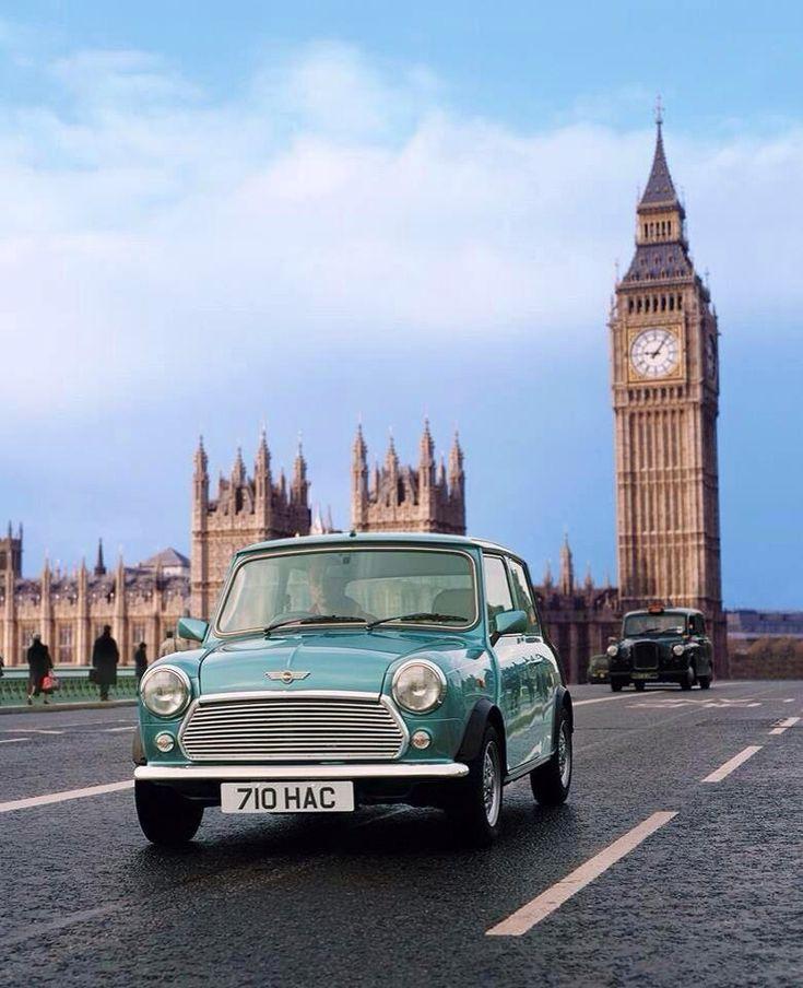 classic mini in London-basedtypical British car in Lobdon