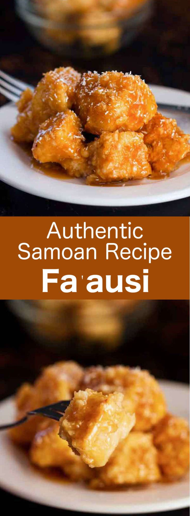 Fa'ausi, a Samoan specialty consists of two separate parts that are assembled: fa'apapa, a coconut bread, served with coconut milk caramel. #Samoa #PacificIslands #196flavors