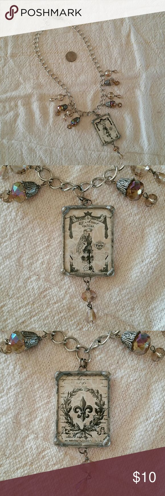 Long trendy necklace crystals and Paris picture Really cool necklace with soldered picture from Paris angel wings and fleur-de-lis Jewelry Necklaces