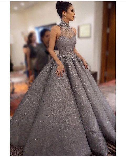 b0d576c8b555 Bling Bling Shiny Evening Dresses Ball Gown Beaded Sheer High Neck Ruffle  Skirt Sequins Floor Length Prom Gowns in 2019 | Fancy Dresses | Dresses, ...