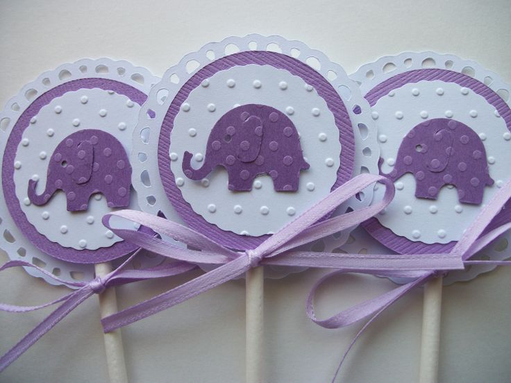 elephant shower purple baby shower baby cupcake toppers purple baby