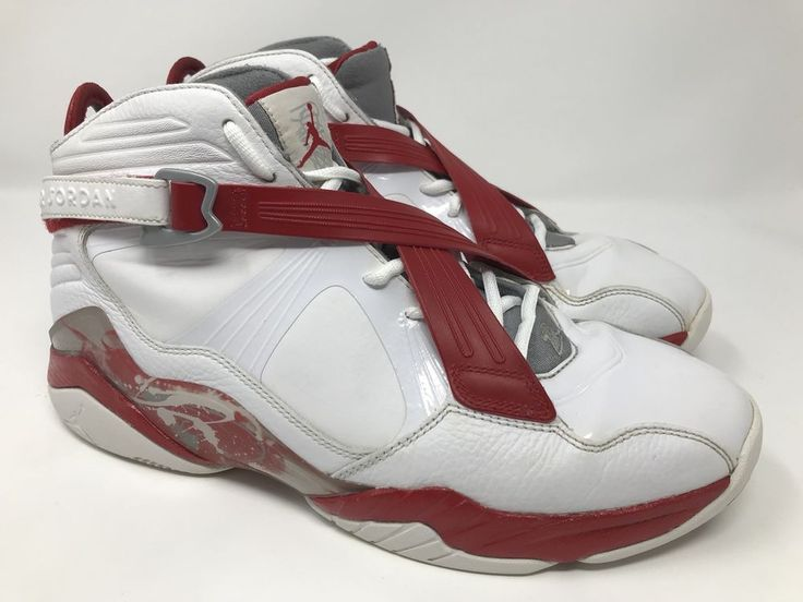 NIKE AIR JORDAN 8.0 RETRO 467807-101 MEN'S WHITE-RED-GRAY SHOES SIZE 10.5 #NikeAirJordan #AthleticSneakers