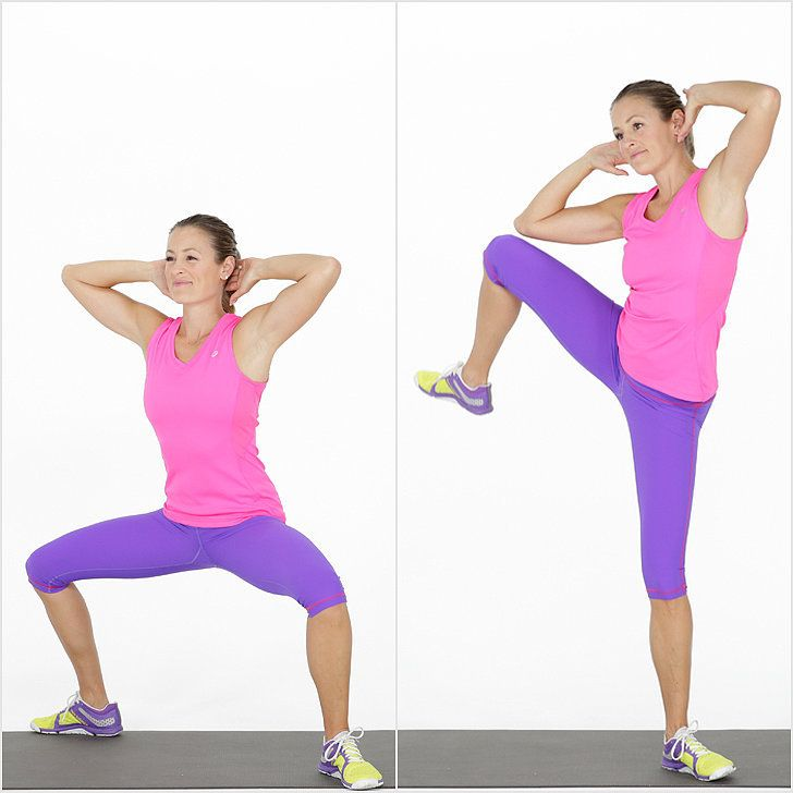 This bodyweight exercise is not a plyometric move, but springing up from a deep sumo squat to stand on one leg is really effective for activating the glute muscles.