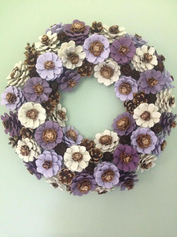 Handcrafted pinecone wreath. Custom made. Indoor or outdoor decor, wedding centre piece, funeral memorial, birthday or thank you gift. Lilac