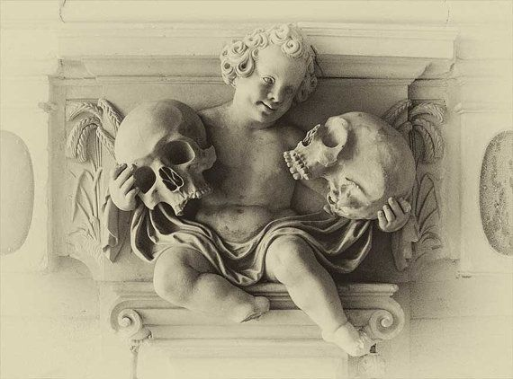 1900s Gothic Cherub holding skulls vintage gothic skull print skull poster cool poster creepy  goth art Vintage Antique photo wall poster
