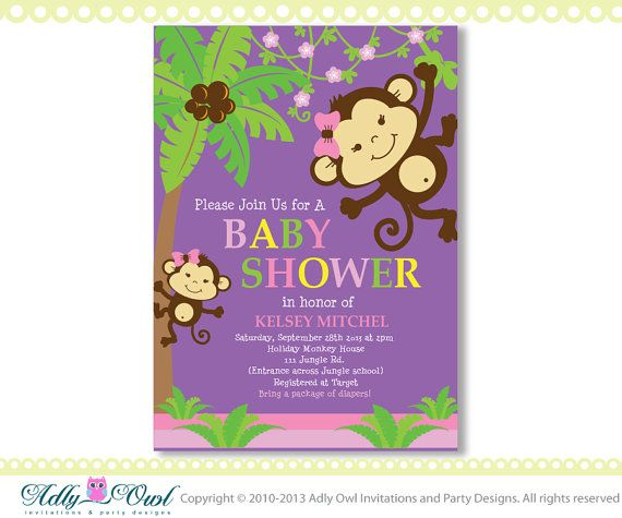 Printable monkey baby shower invitations for girl diabetesmangfo best baby showers images on shower ideas projects baby shower invitation filmwisefo