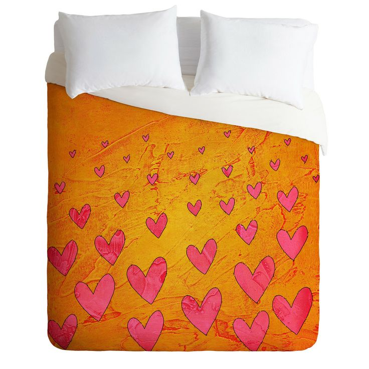 Isa Zapata Love Shower Orange Duvet Cover | DENY Designs Home Accessories