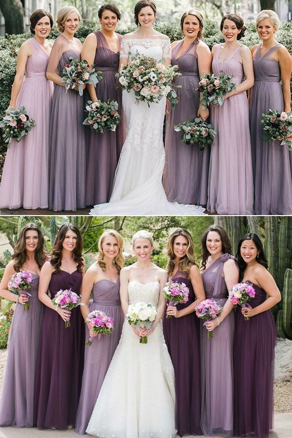 Mix And Match Bridesmaid Dresses Done Right 7 Ways To Rock The Trend Purple Wedding Dress Bridesmaid Lavender Bridesmaid Dresses Purple Bridesmaid Dresses