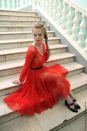 """Платья ручной работы. Ярмарка Мастеров - ручная работа. Купить Платье вязаное """" Коррида"""". Handmade. Ярко-красный"""