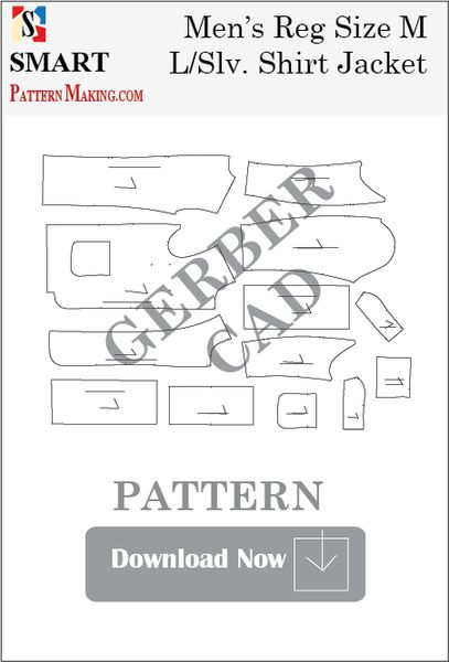 Gerber/CAD Men's Long Sleeve Shirt Jacket Sewing Pattern Download - smart pattern making