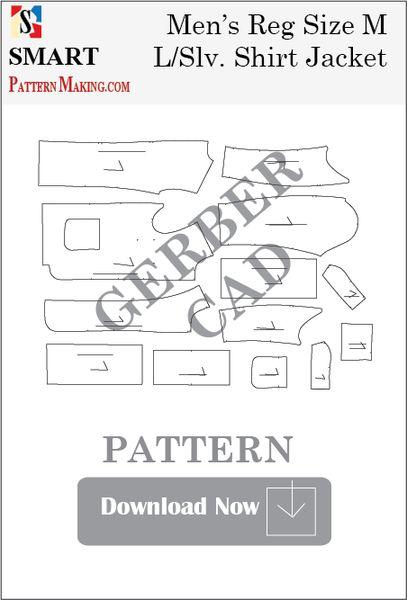 Gerber/CAD Men's Long Sleeve Shirt Jacket Sewing Pattern Download - smart pattern making