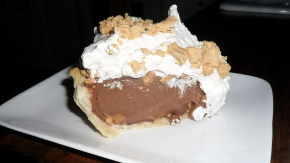 "Chocolate Peanut Butter Cream Pie ~ based on the Amish PB Pie showcased on ""Man Vs. Food"".    Oh.  My.  Goodness..."